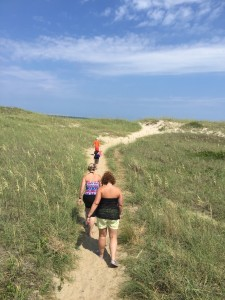 Sand dunes in the Outer Banks help protect these narrow islands from harsh weather.