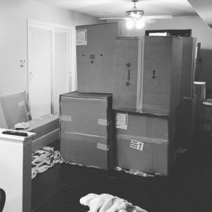 The cabinets arrived three weeks early, can you believe it?!