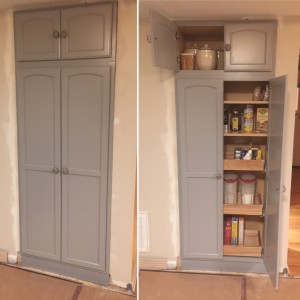 We expanded the small pantry space and added drawers and doors. I love the easy access now!